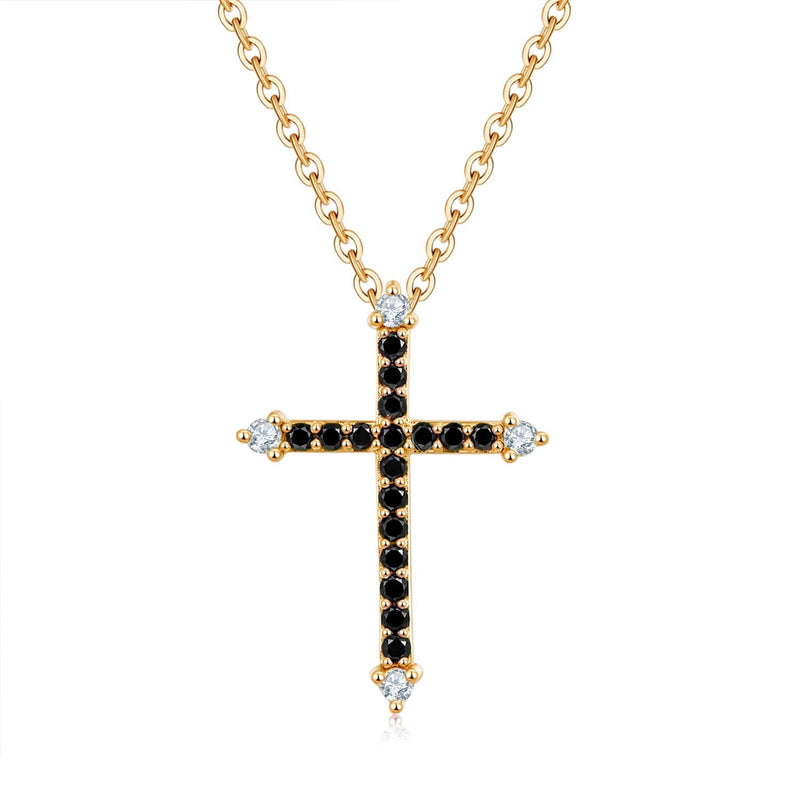 18k Solid Gold Cross Black Diamond Necklace - Melbourne, Australia