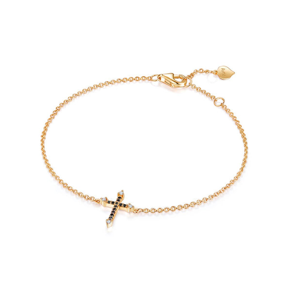 18k Solid Gold Cross Black Diamond Bracelet - Melbourne, Australia