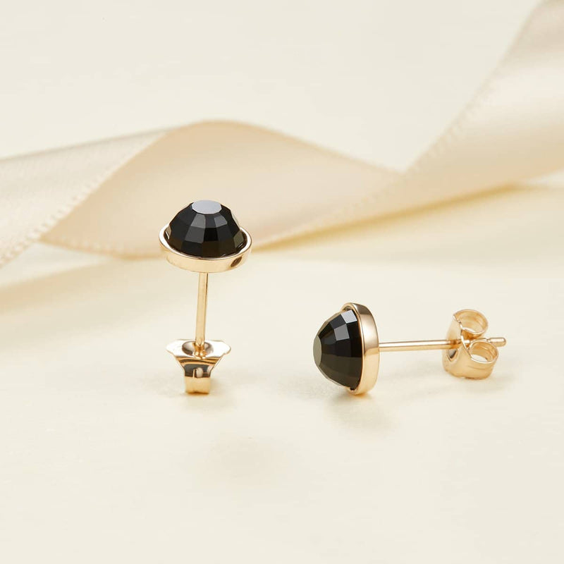 18k Solid Gold Round Black Onyx Stud Earrings - Melbourne, Australia