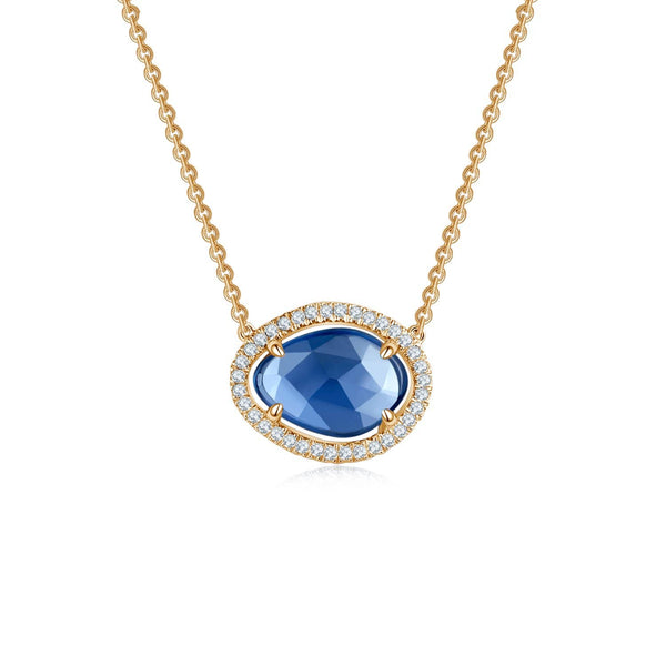 18k Solid Gold Halo Sapphire Diamond Necklace - Melbourne, Australia