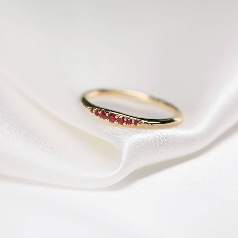18k Solid Gold Stacking Natural Ruby Wedding Ring - Melbourne, Australia