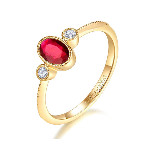 Bezel Set Round Diamond Engagement Ring Melbourne, Australia | 18k Solid Gold Oval Bezel Set Ruby Ring