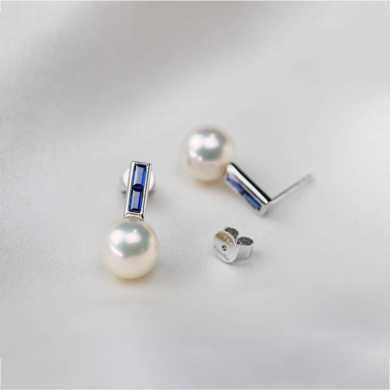 Blue Sapphire Stud Pearl Earrings - Melbourne, Australia
