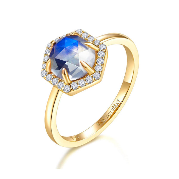 18k Solid Gold Hexagon Moonstone and Diamond Halo Engagement Ring