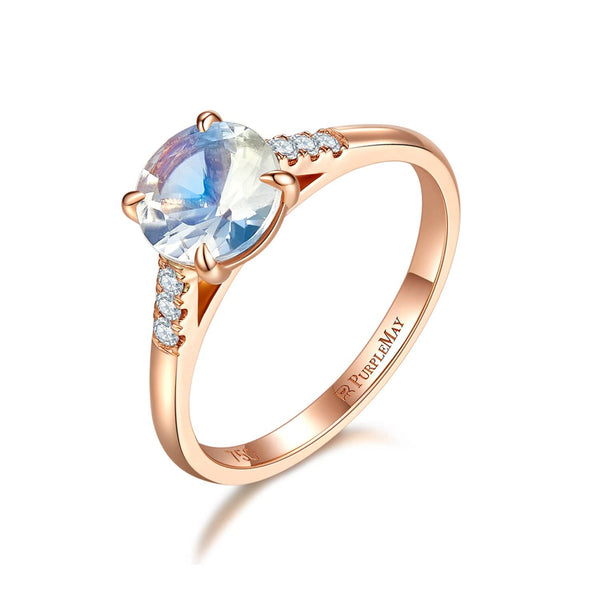 18k Solid Gold Solitaire Moonstone Engagement Ring