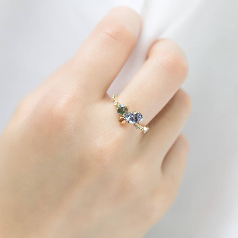 18k Solid Gold Blue and Sea Green Sapphire Diamond Cluster Ring - Melbourne, Australia