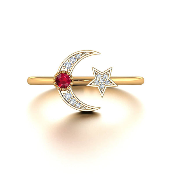 Crescent Moon Diamond Ring in 18k Solid Gold and Star Ruby Ring - Melbourne, Australia