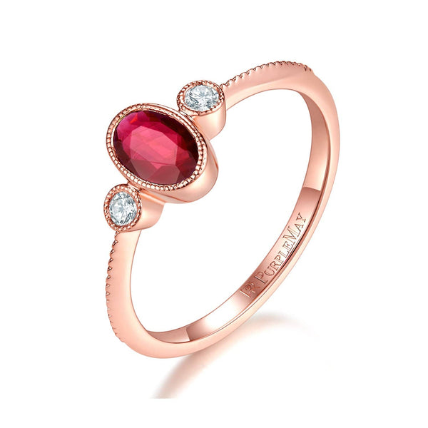 18k Solid Gold Oval Bezel Set Ruby Ring - Bezel Set Round Diamond Engagement Ring Melbourne, Australia