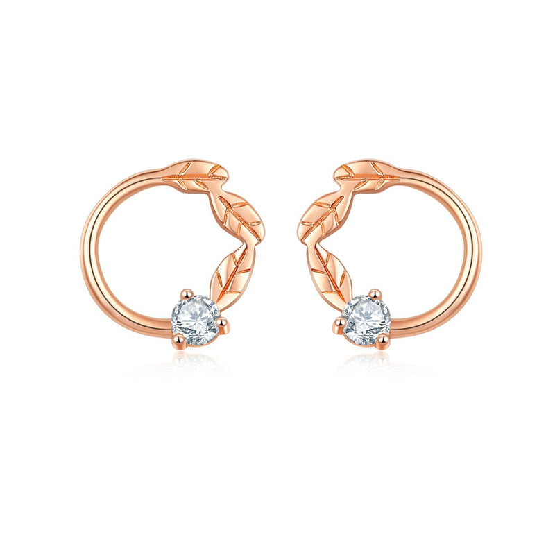 Leaves Diamond Earring Studs in 18k Rose Gold - Melbourne, Australia
