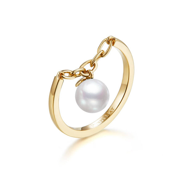 18k Solid Gold Akoya Pearl Chain Ring - Melbourne, Australia