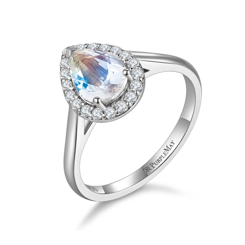 18k Solid Gold Pear Shape Moonstone Engagement Ring - Melbourne, Australia