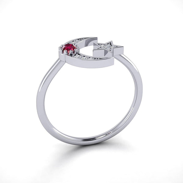 18k Solid Gold Crescent Moon Diamond Ring and Star Ruby Ring - Melbourne, Australia