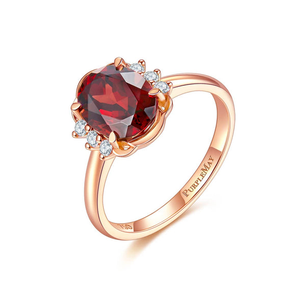 18k Solid Gold Oval Cut Garnet Engagement Ring - Melbourne, Australia