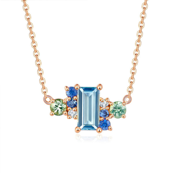 18k Solid Gold Ice Blue Topaz and Sapphires Cluster Necklace - Melbourne, Australia
