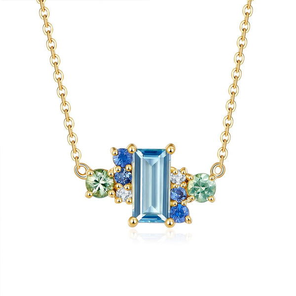 18k Solid Gold Ice Blue Topaz and Sapphires Cluster Necklace - Purplemay Jewellery