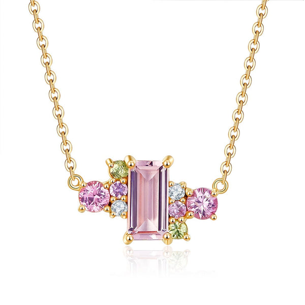 18k Solid Gold Pink Morganite and Sapphires Cluster Necklace - Purplemay Jewellery