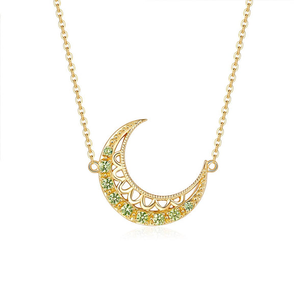 18k Solid Gold Crescent Moon Yellow Sapphire Necklace - Purplemay Jewellery