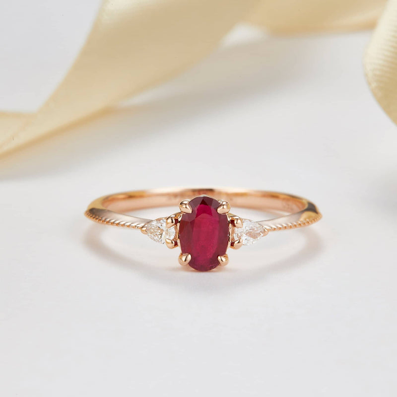18k Solid Gold Oval Ruby and Pear Shape Diamond Ring - Melbourne, Australia