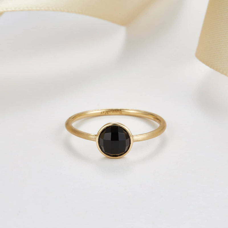 18k Solid Gold Black Round Diamond Cut Onyx Ring - Melbourne, Australia