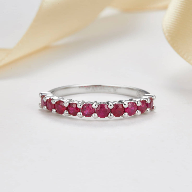 18k Solid Gold Half Eternity Natural Ruby Wedding Ring Band - Melbourne, Australia