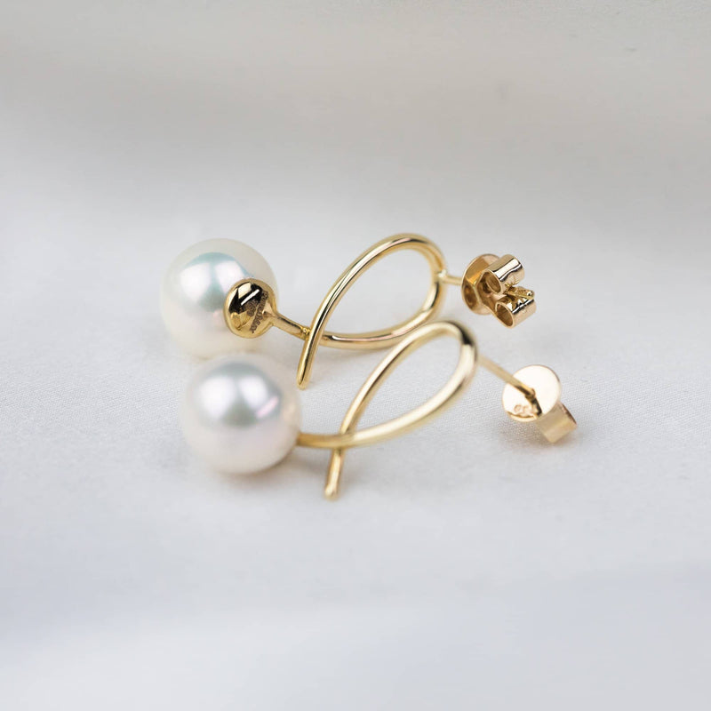 Natural Sea Pearl Geometrical Line Studs Earrings - Melbourne, Australia