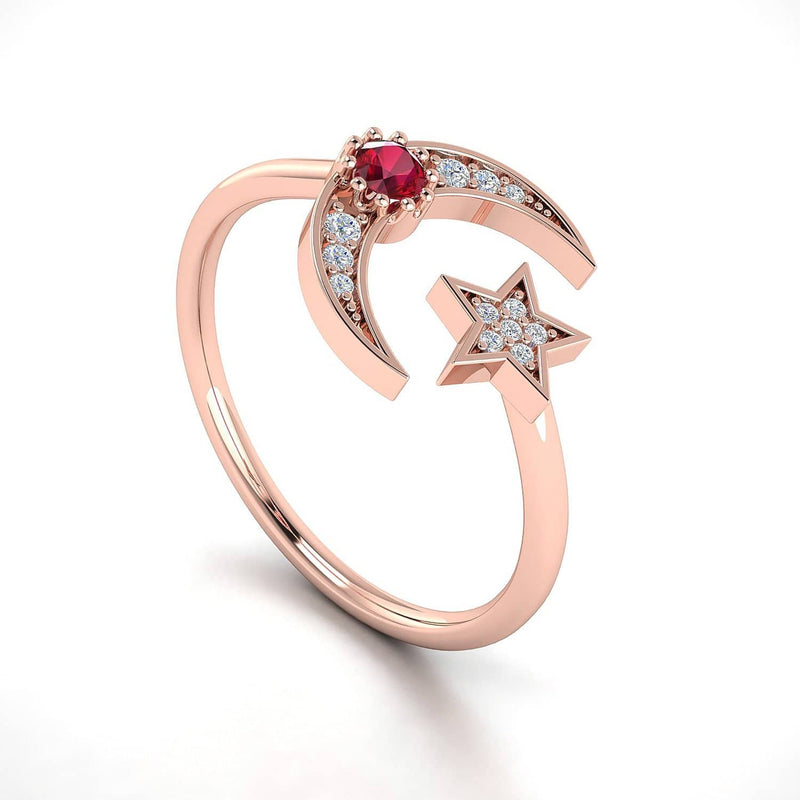 18k Solid Gold Crescent Moon and Star Ruby Ring - Melbourne, Australia