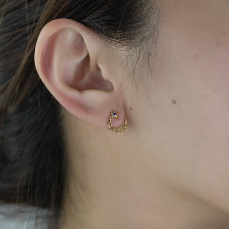 18K Solid Gold Sapphire Star and Moon Stud Earrings | Earrings Melbourne Australia