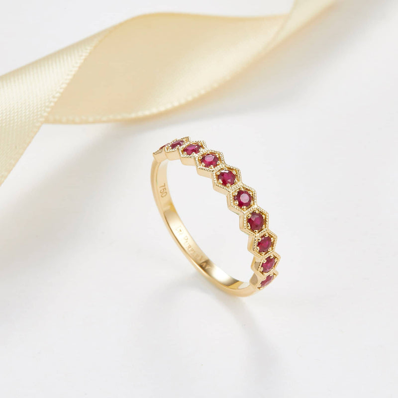 18k Solid Gold Half Eternity To Be Loved Natural Ruby Wedding Ring Band - Melbourne, Australia