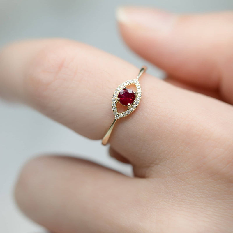 18k Solid Gold Evil Eye Ruby Ring - Melbourne, Australia