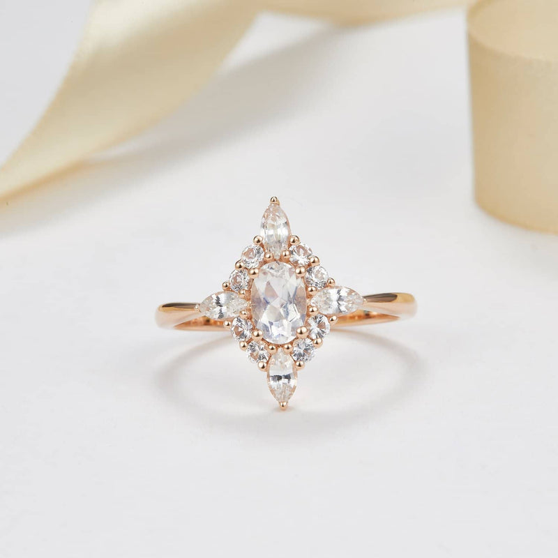 18k Solid Gold Moonstone and White Sapphire Cluster Engagement Ring - Melbourne, Australia