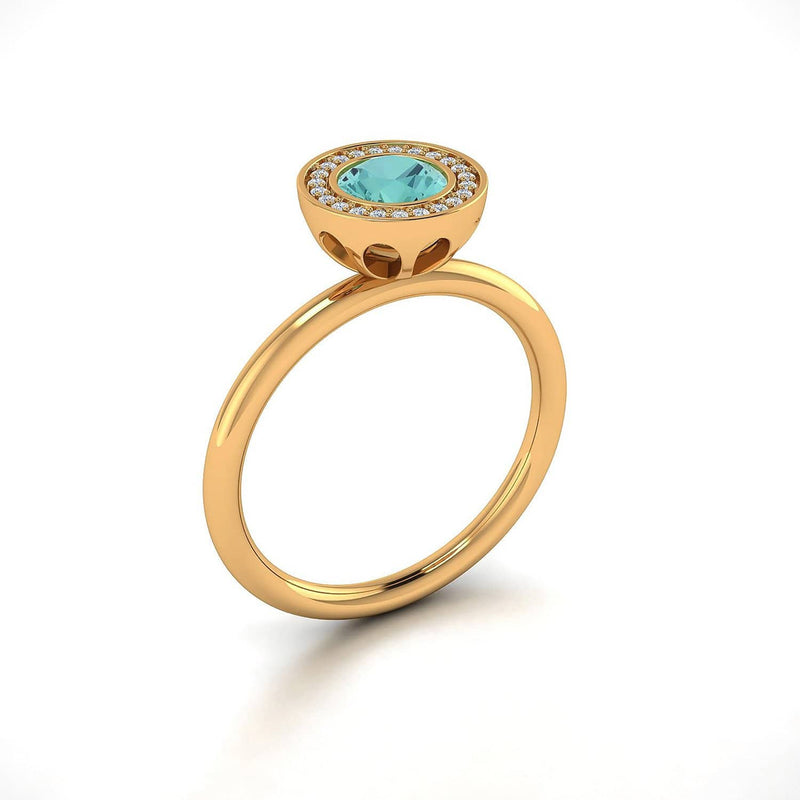 18K SOLID GOLD BLUE TOURMALINE ENGAGEMENT RING - Melbourne, Australia