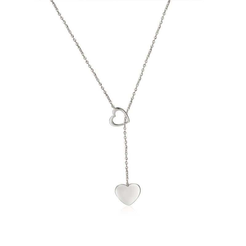 18k Solid Gold Double Hearts Pendant Necklace - Melbourne, Australia