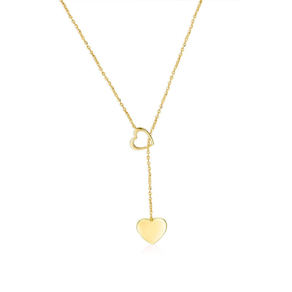 18k Solid Gold Double Hearts Pendant Necklace - Purplemay Jewellery