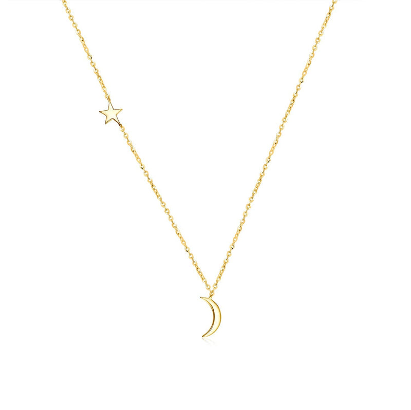 18k Solid Gold Delicate Moon and Star Necklace - Melbourne, Australia