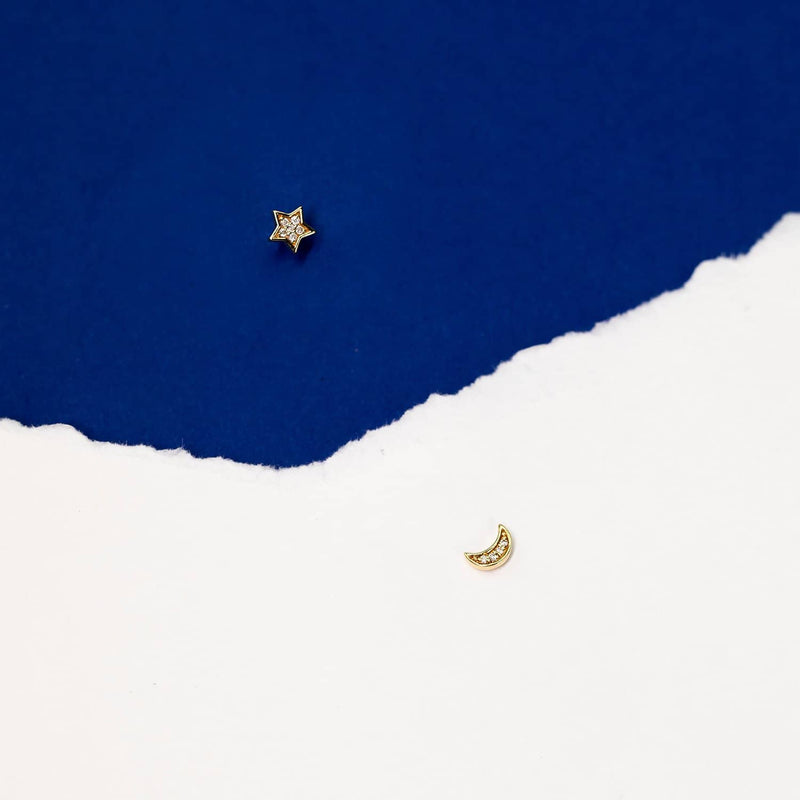 Star Moon Earrings | Spark Diamond Earings Melbourne Australia