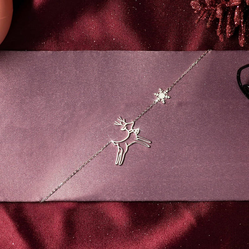 CHRISTMAS 18K SOLID GOLD DEER AND SNOWFLAKE NECKLACE - Melbourne, Australia