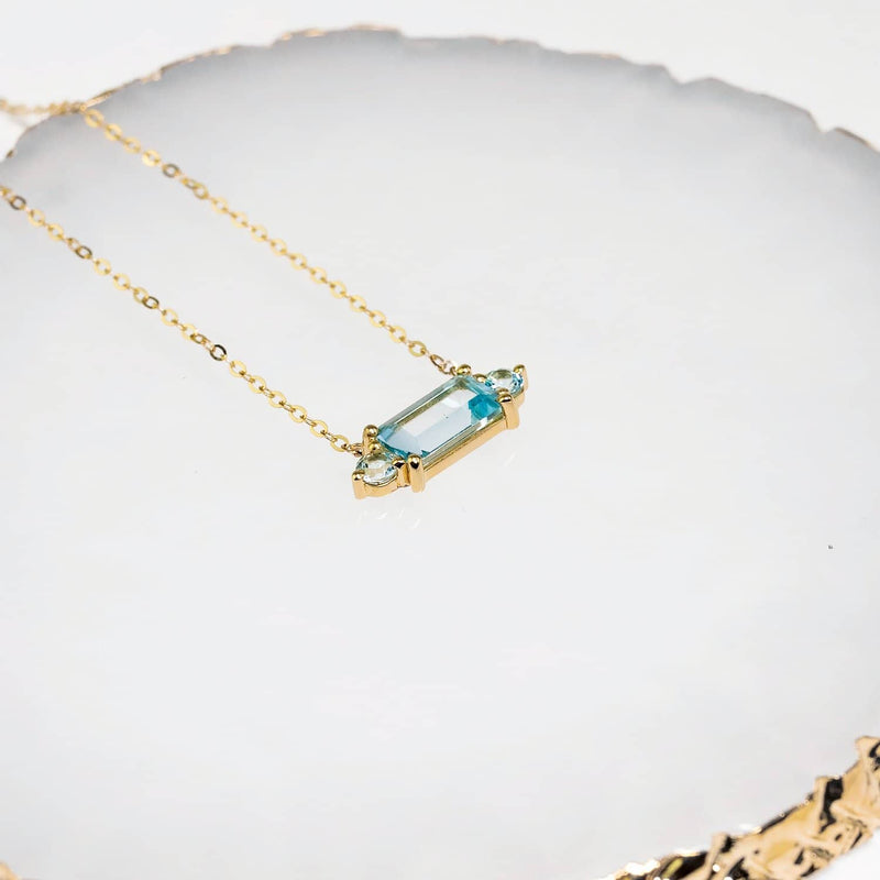 18K SOLID GOLD TOPAZ STATEMENT NECKLACE - Melbourne, Australia