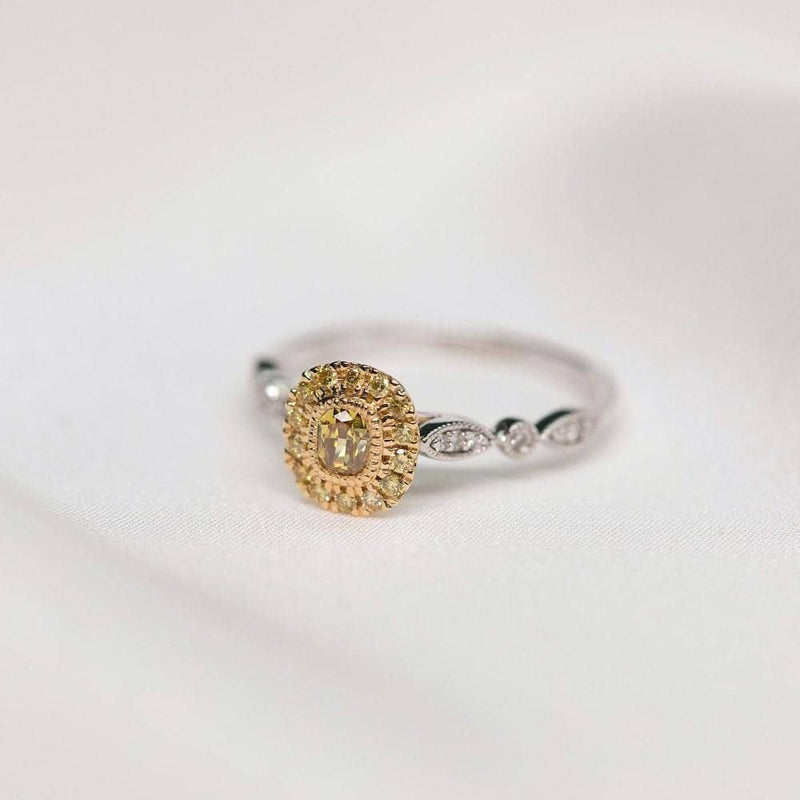 18k Solid Gold Antique Halo Yellow Diamond Engagement Ring - Melbourne, Australia