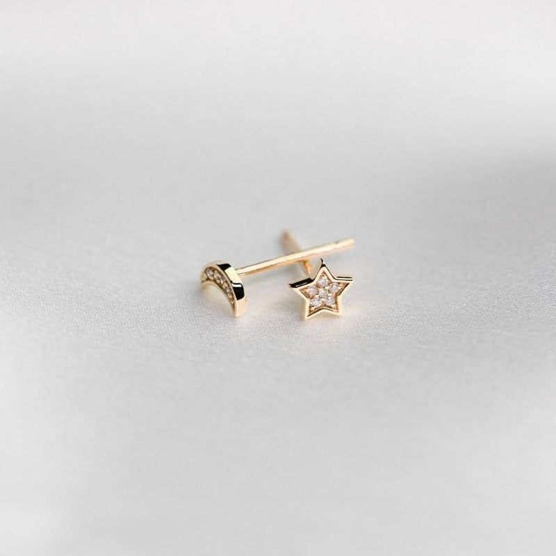 Star and Moon Stud Earrings in 18k Solid Gold | Moon star earrings  - Melbourne, Australia