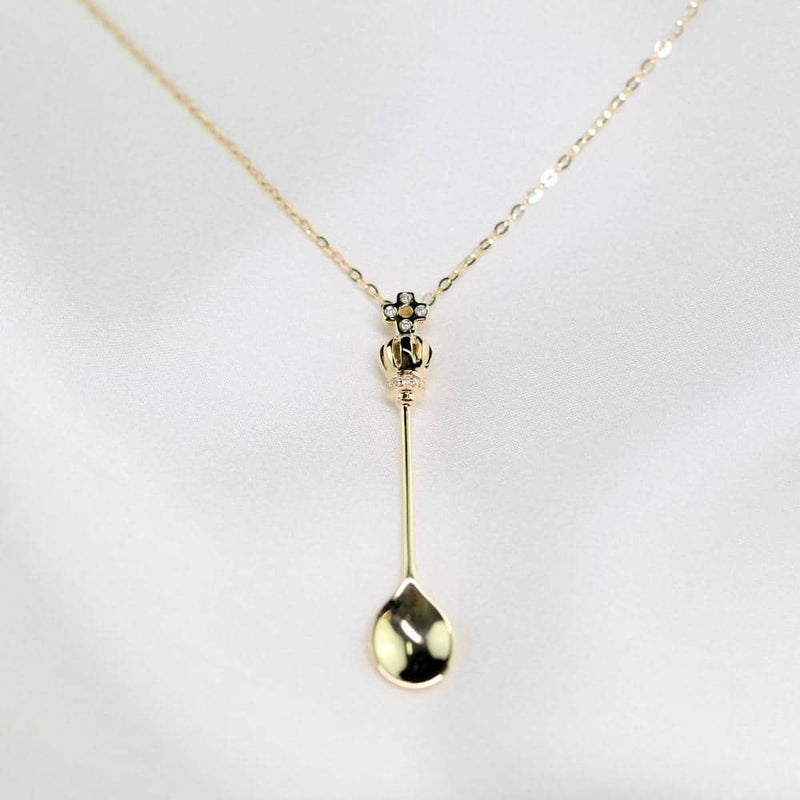 Low Price Spoon Necklace | 18k Solid Gold Lucky Spoon Pendant Necklace - Melbourne, Australia