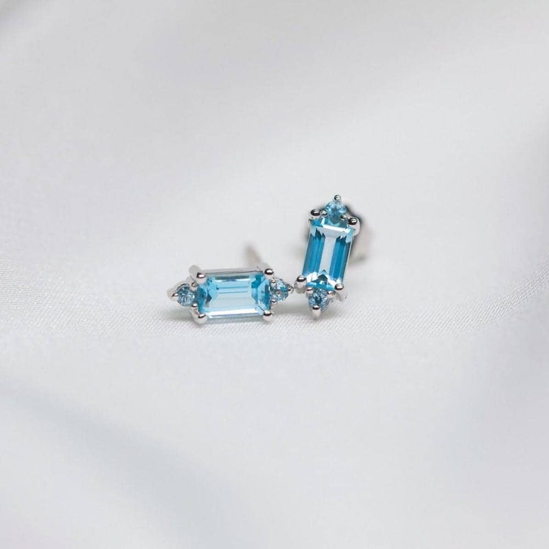 18k Solid Gold Baguette Cut Aqua Topaz Stud Earrings - Melbourne, Australia