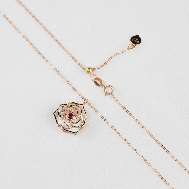 18k Solid Gold Romantic Red Rose  Necklace - Melbourne, Australia