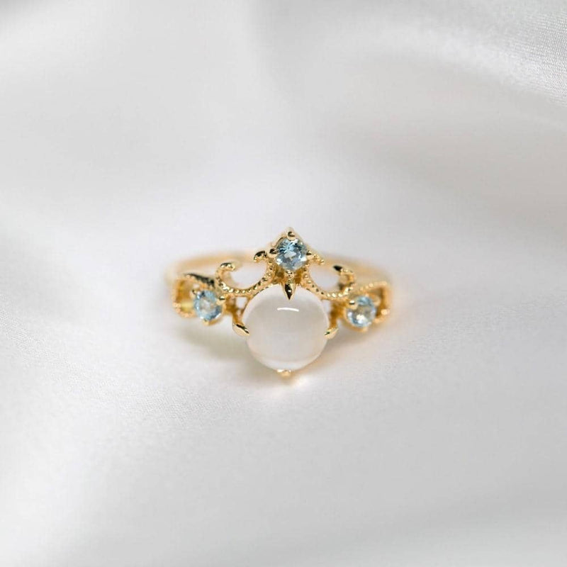 18k Solid Gold Vintage Moonstone Engagement Ring - Melbourne, Australia