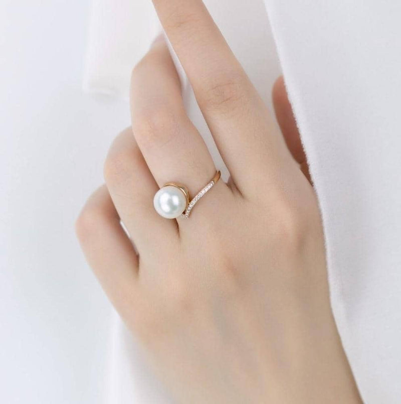 18k Solid Gold Large Akoya Pearl Diamond Ring - Melbourne, Australia
