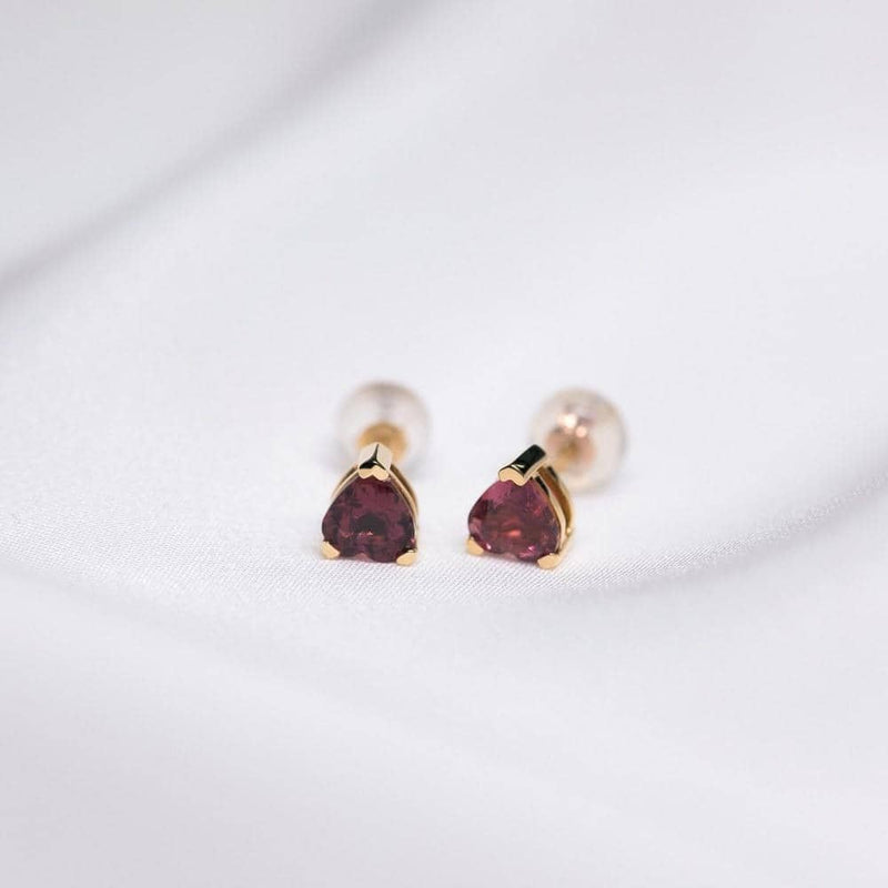 18k Solid Gold Red Tourmaline Heart Earring Studs - Melbourne, Australia
