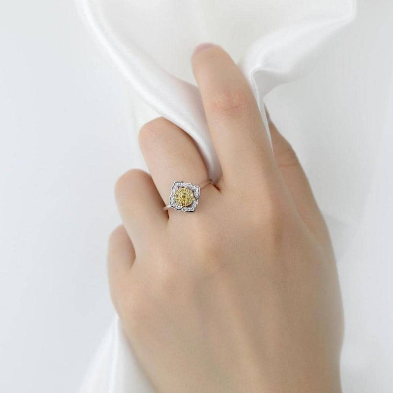 18k Solid Gold Halo Yellow Diamond Engagement Ring - Melbourne, Australia