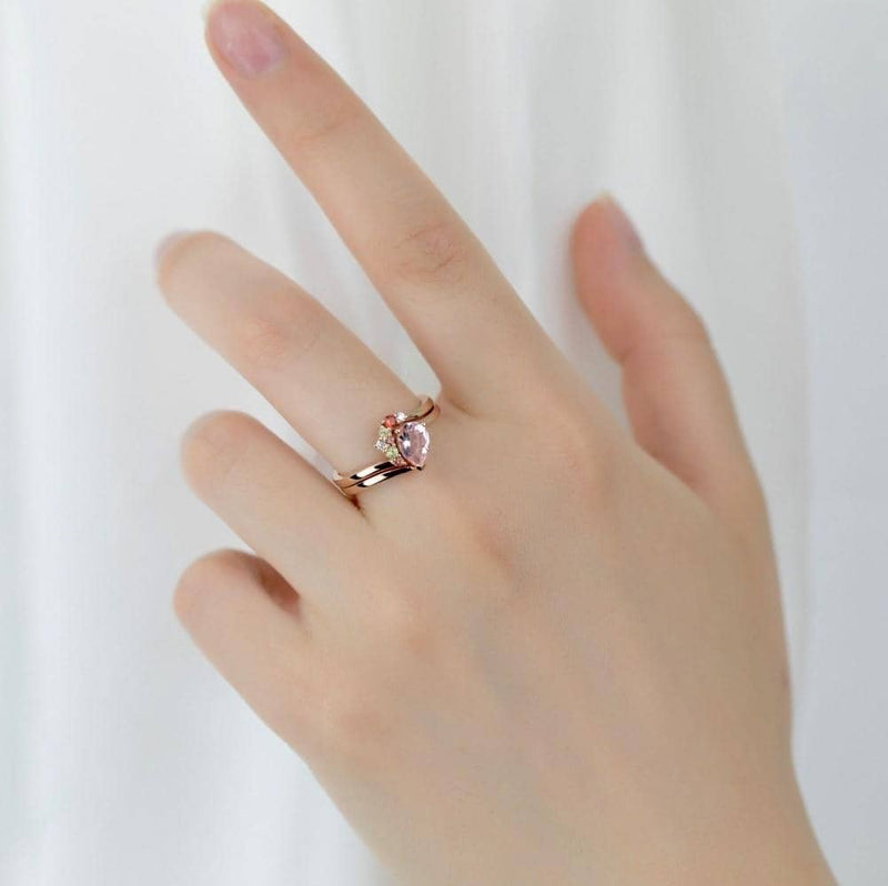 18k Solid Gold Asymmetric Pink Morganite Ring Set - Melbourne, Australia