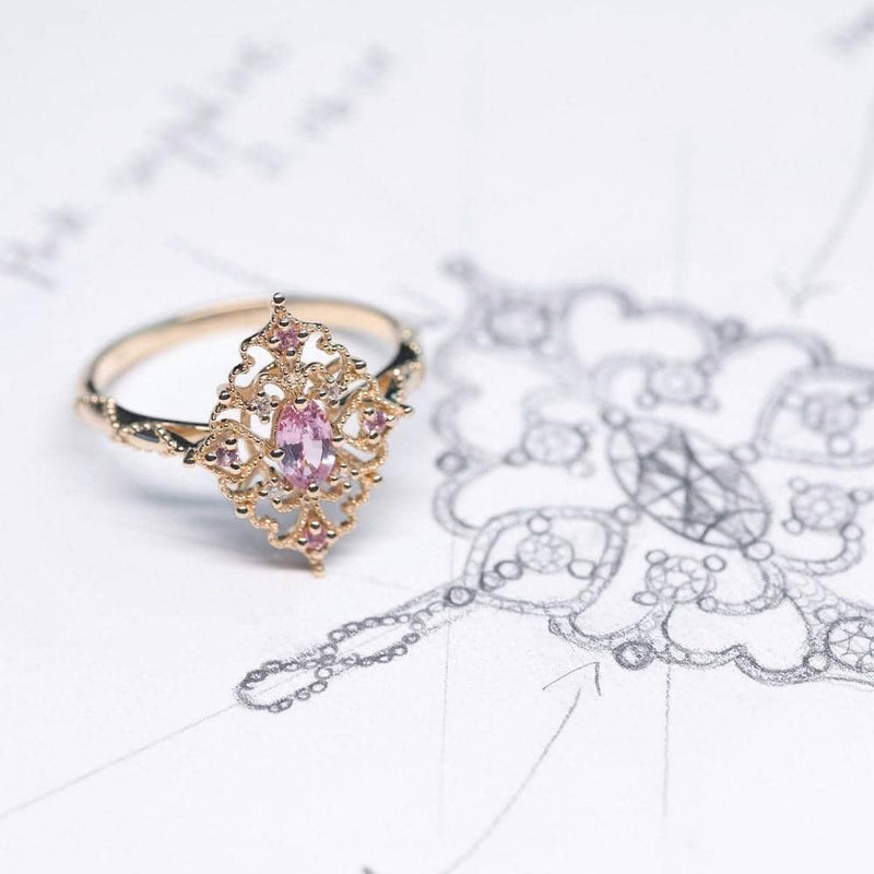 18k Solid Gold Antique Deco Pink Sapphire Diamond Engagement Ring - Melbourne, Australia