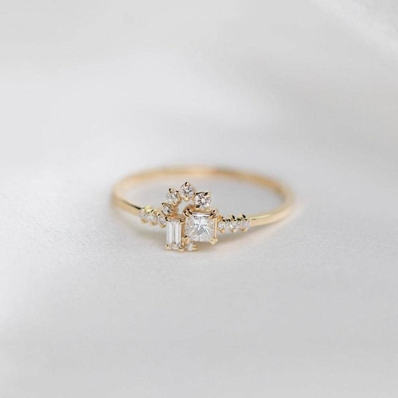 18k Solid Gold Sparkle Diamond Cluster Ring - princess cut engagement rings Melbourne, Australia