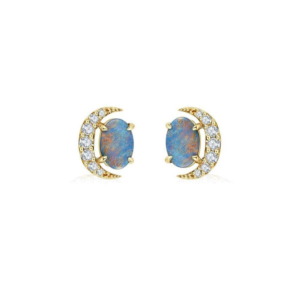18 solid gold Australian Black Opal Diamond Stud Earrings - Melbourne, Australia